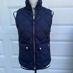 J Crew NEW excursion navy quilted zip up vest sz S
